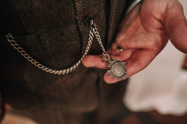 Pocket Watch | Groom in Tweed Walker Slater Suit | DIY Lord of the Rings Themed Wedding at Monks Barn in Maidenhead | Jason Mark Harris Photography | Cinematic Films By J