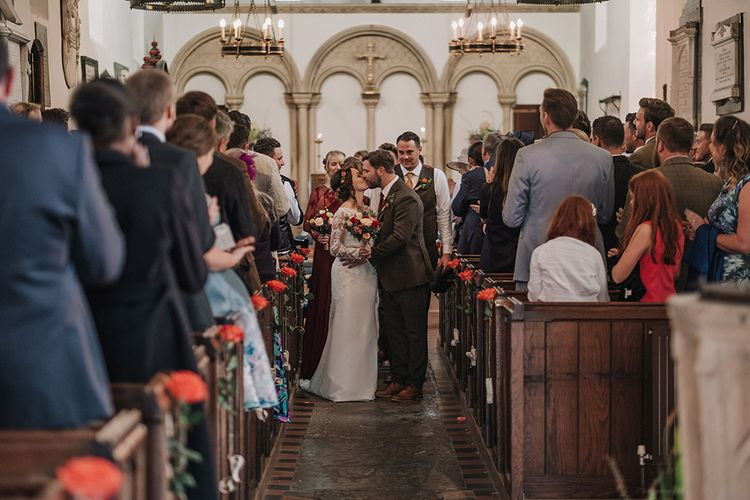 Church Ceremony | Bride in Lisa Donetti Adriana Gown | Groom in Tweed Walker Slater Suit | DIY Lord of the Rings Themed Wedding at Monks Barn in Maidenhead | Jason Mark Harris Photography | Cinematic Films By J