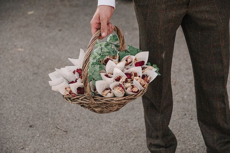 Confetti Cones Basket | DIY Lord of the Rings Themed Wedding at Monks Barn in Maidenhead | Jason Mark Harris Photography | Cinematic Films By J