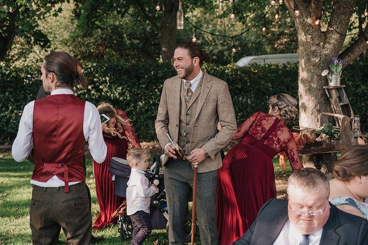 Groomsmen in Walker Slater Tweed Suit | DIY Lord of the Rings Themed Wedding at Monks Barn in Maidenhead | Jason Mark Harris Photography | Cinematic Films By J