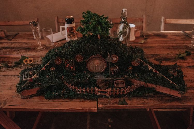 Hobbit Hollow Centrepiece | DIY Lord of the Rings Themed Wedding at Monks Barn in Maidenhead | Jason Mark Harris Photography | Cinematic Films By J