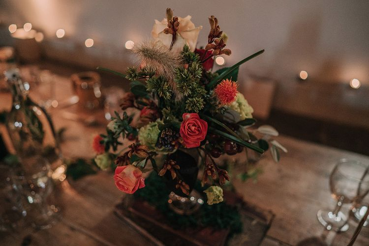 Floral Centrepiece | DIY Lord of the Rings Themed Wedding at Monks Barn in Maidenhead | Jason Mark Harris Photography | Cinematic Films By J