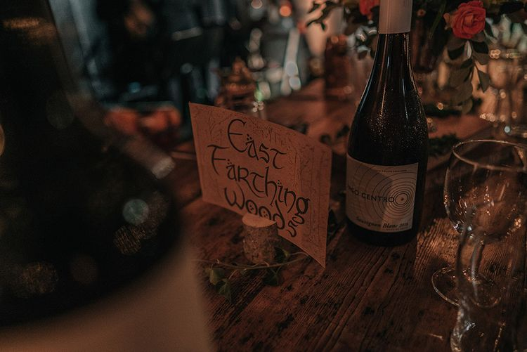 Hobbit Table Name | DIY Lord of the Rings Themed Wedding at Monks Barn in Maidenhead | Jason Mark Harris Photography | Cinematic Films By J