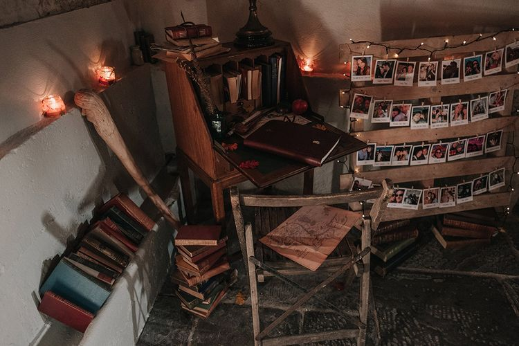 Vintage Writing Desk Guest Book Area | DIY Lord of the Rings Themed Wedding at Monks Barn in Maidenhead | Jason Mark Harris Photography | Cinematic Films By J