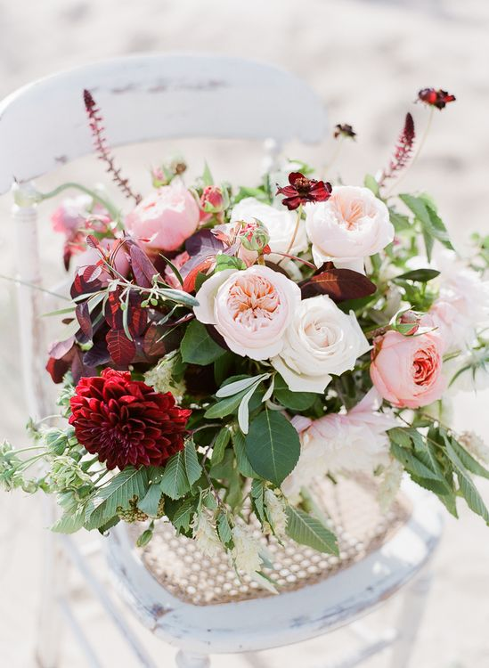 Beautiful Plum and Pale Pink Wedding Flowers by Blue Sky Flowers