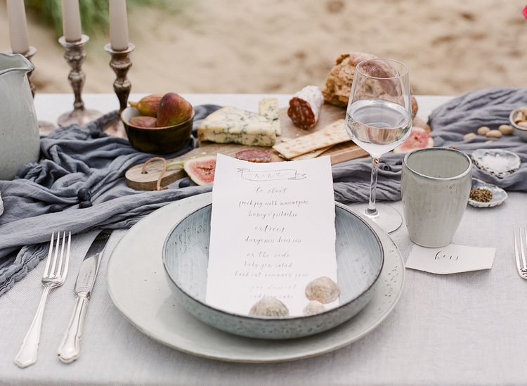 Wedding Tablescape With Grey and Blue Silks and Linens