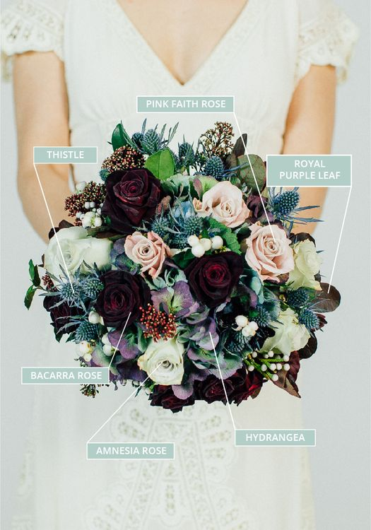 Structured Autumn & Fall Wedding Bouquet With Berry Tones