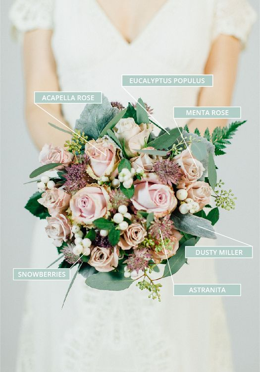 Autumn & Fall Wedding Bouquet With Dusky Pink Roses & Lots Of Foliage