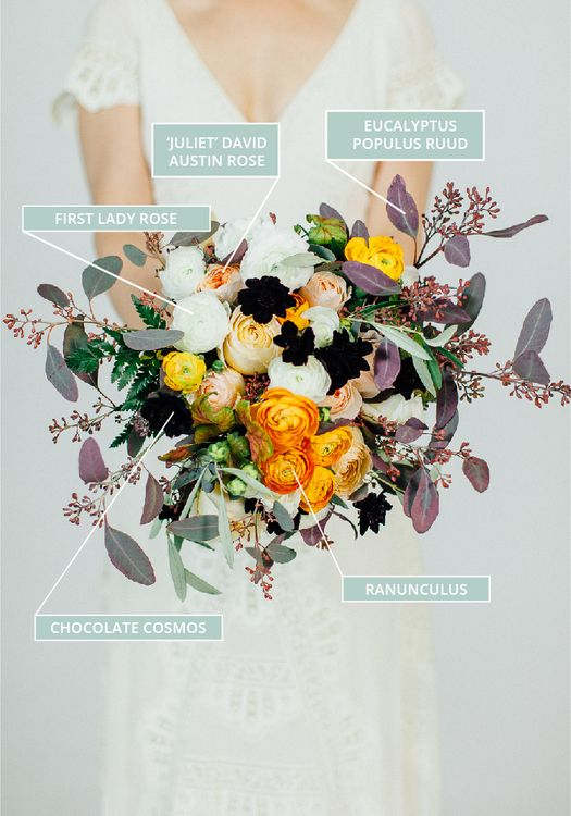 Autumn & Fall Wedding Bouquet With Orange Accents & Chocolate Cosmos