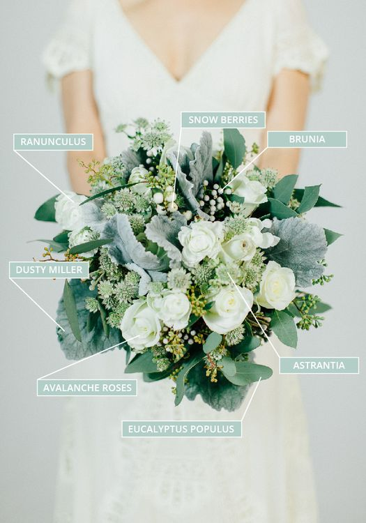 Autumn & Fall Wedding Bouquet In White With Sage Green Foliage