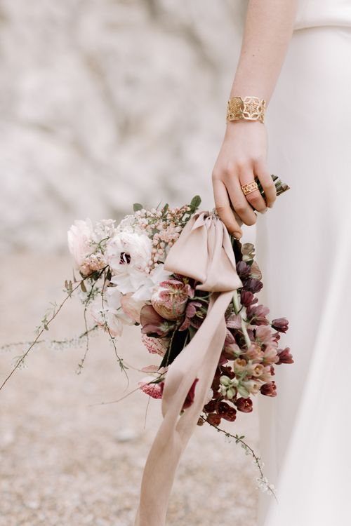Bouquet With Hand Died Silk Ribbon