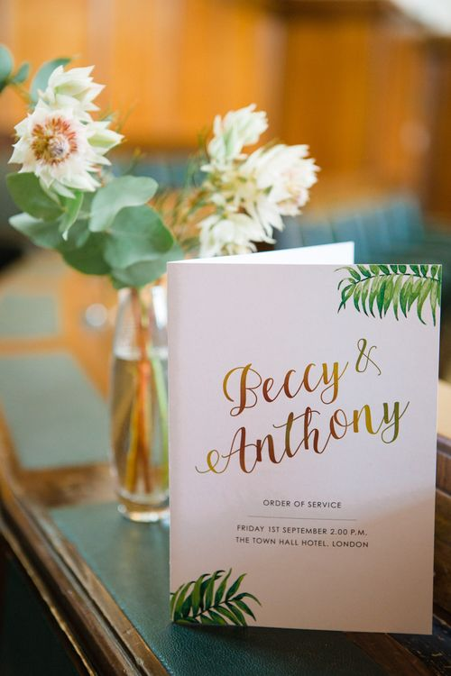 Greenery, White & Gold Wedding Stationery | Stylish Wedding at The Town Hall Hotel in London | Lucy Davenport Photography