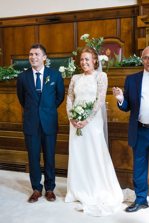 Wedding Ceremony | Greenery, White & Gold Stylish Wedding at The Town Hall Hotel in London | Lucy Davenport Photography