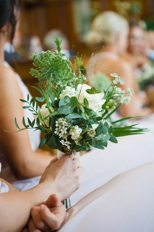 Greenery & White Flower Bouquet | Greenery, White & Gold Stylish Wedding at The Town Hall Hotel in London | Lucy Davenport Photography