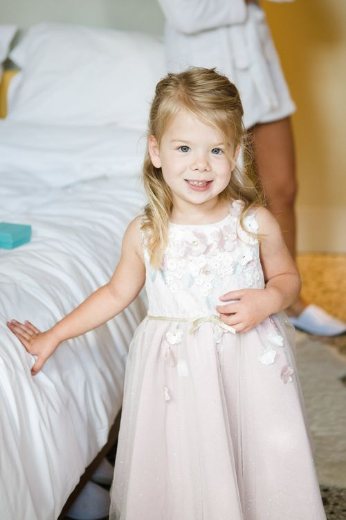 Flower Girl | Greenery, White & Gold Stylish Wedding at The Town Hall Hotel in London | Lucy Davenport Photography