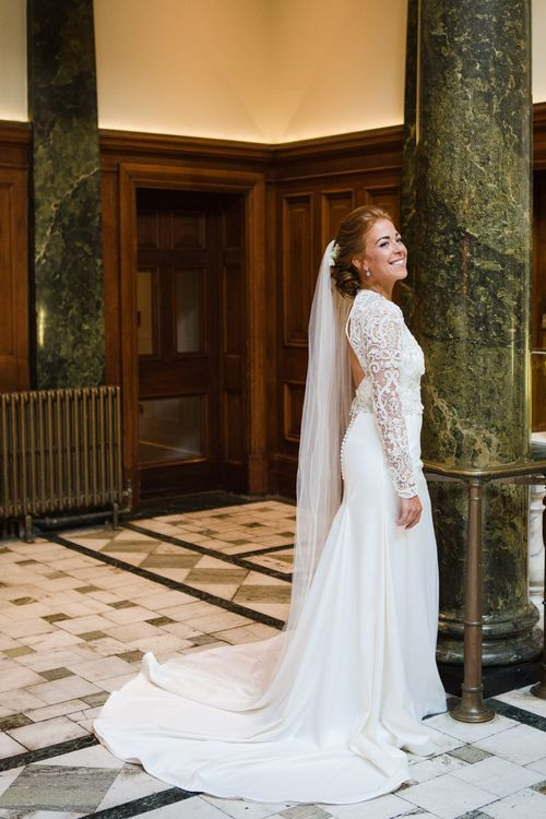 Bespoke Emma Beaumont Bridal Gown | Greenery, White & Gold Stylish Wedding at The Town Hall Hotel in London | Lucy Davenport Photography