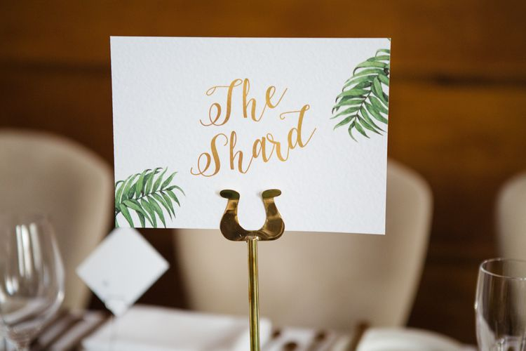 Greenery & Gold Wedding Stationery | Greenery, White & Gold Stylish Wedding at The Town Hall Hotel in London | Lucy Davenport Photography
