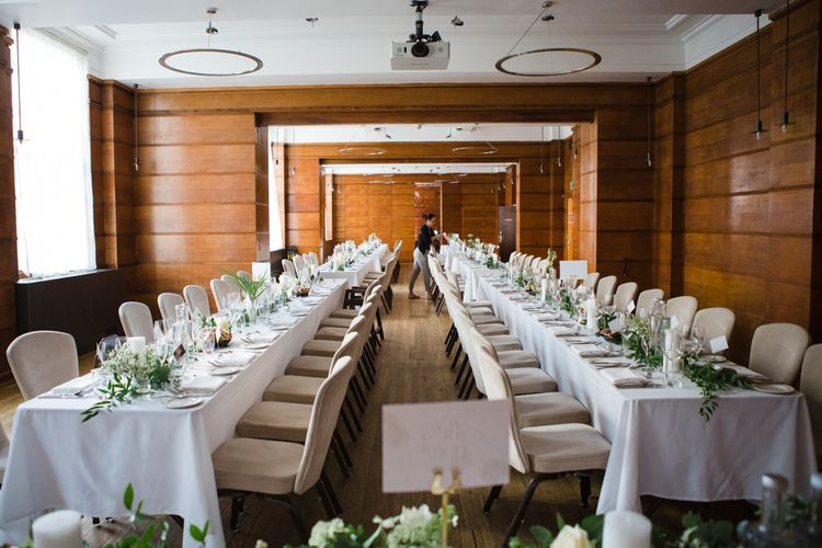 Wedding Reception | Greenery, White & Gold Stylish Wedding at The Town Hall Hotel in London | Lucy Davenport Photography