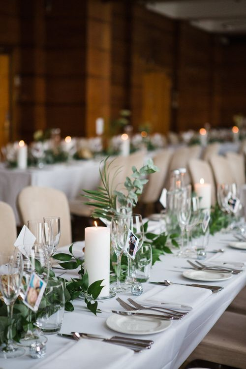Table Decor | Greenery, White & Gold Stylish Wedding at The Town Hall Hotel in London | Lucy Davenport Photography