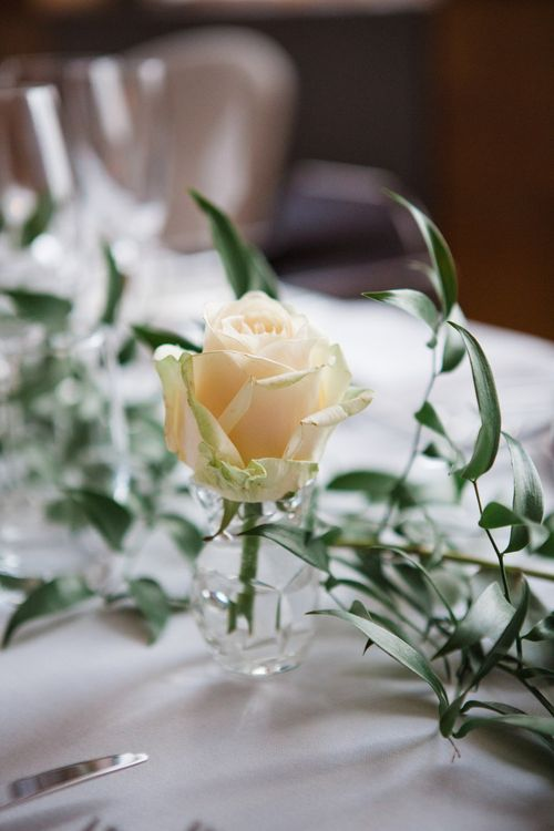 White Rose Flower Stem in Jar | Greenery, White & Gold Stylish Wedding at The Town Hall Hotel in London | Lucy Davenport Photography
