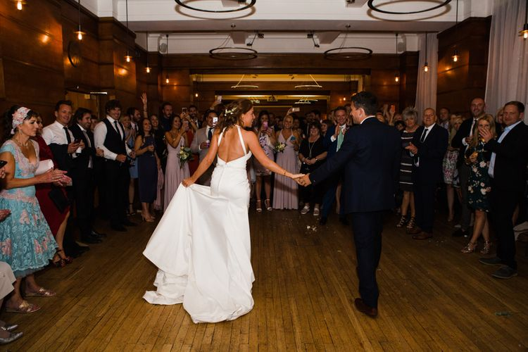 First Dance | Greenery, White & Gold Stylish Wedding at The Town Hall Hotel in London | Lucy Davenport Photography