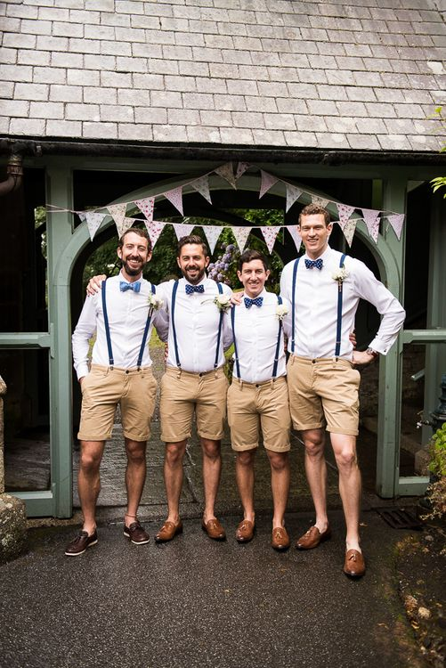 Groomsmen in Shorts, Braces & Bow Ties | Coastal Wedding at Driftwood Spas St Agnes, Cornwall | Jessica Grace Photography