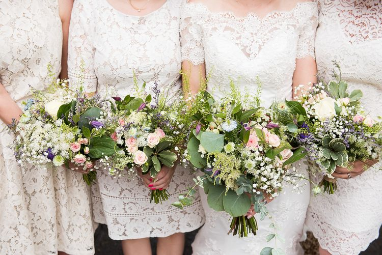 Romantic Flower & Foliage Bouquets | Coastal Wedding at Driftwood Spas St Agnes, Cornwall | Jessica Grace Photography
