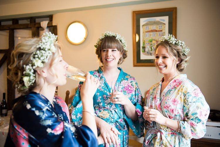 Bridal Party Wedding Morning Preparations | Flower Crowns | Coastal Wedding at Driftwood Spas St Agnes, Cornwall | Jessica Grace Photography