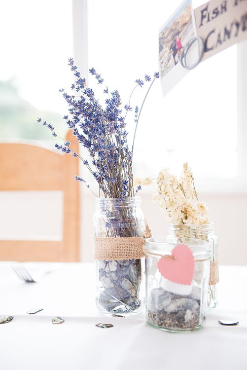 Lavender in Jars Table Decor | Coastal Wedding at Driftwood Spas St Agnes, Cornwall | Jessica Grace Photography