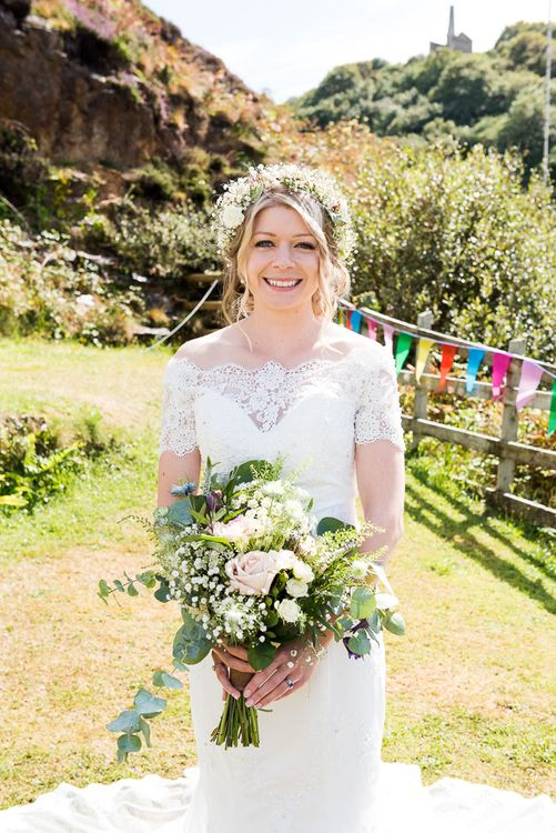 Bride in Lace Bardot Dress with Flower Crown | Coastal Wedding at Driftwood Spas St Agnes, Cornwall | Jessica Grace Photography