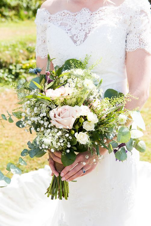 Romantic Bridal Bouquet | Coastal Wedding at Driftwood Spas St Agnes, Cornwall | Jessica Grace Photography