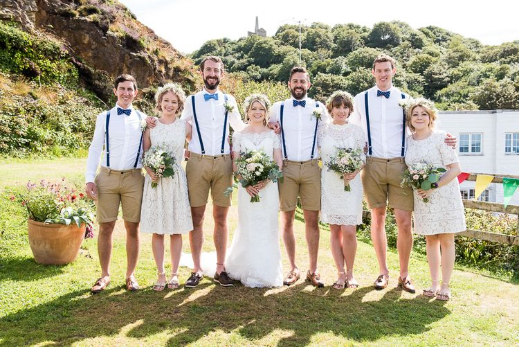 Wedding Party | Groomsmen in Shorts | Bridesmaids in White Lace Dresses | Coastal Wedding at Driftwood Spas St Agnes, Cornwall | Jessica Grace Photography
