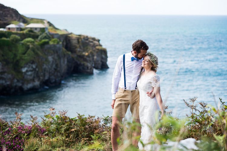 Bride in Lace Wedding Dress | Groom in Shorts, Braces & Bow Tie | Coastal Wedding at Driftwood Spas St Agnes, Cornwall | Jessica Grace Photography