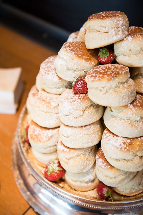Scone Tower Wedding Cake | Coastal Wedding at Driftwood Spas St Agnes, Cornwall | Jessica Grace Photography