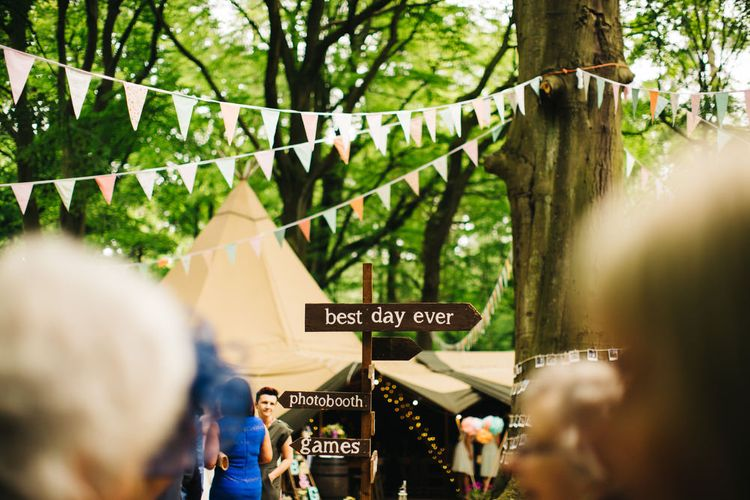 Bunting & Wooden Direction Sign Rustic Wedding Decor