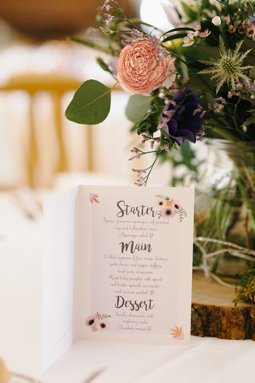 Menu Cards | Rustic Tree Slice, Bird Cake & Wild Flower Centrepieces | Curradine Barns, West Midlands | Chris Barber Photography