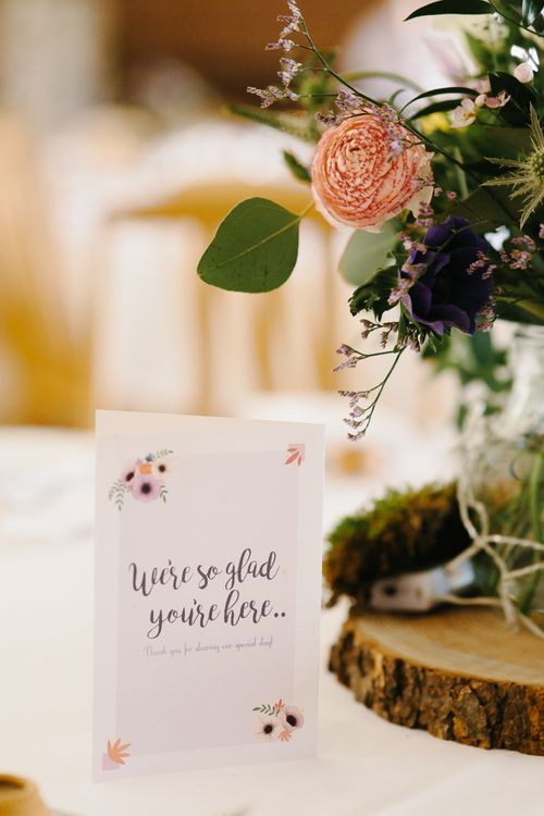 Wedding Stationery | Rustic Tree Slice, Bird Cake & Wild Flower Centrepieces | Curradine Barns, West Midlands | Chris Barber Photography