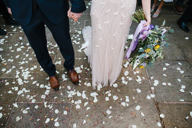 Confetti Moment | Bride in Sequin Wedding Dress | Groom in Moss Bros Hire Suit | Curradine Barns, West Midlands | Chris Barber Photography
