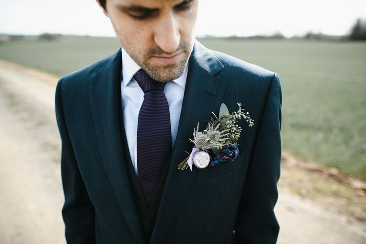 Buttonhole | Groom in Moss Bros Hire Suit | Curradine Barns, West Midlands | Chris Barber Photography