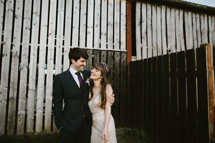 Bride in Sequin Wedding Dress | Delicate Victoria Millésime Headpiece | Groom in Moss Bros Hire Suit | Curradine Barns, West Midlands | Chris Barber Photography