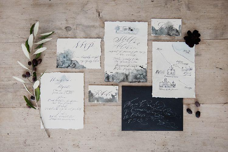 Dark Marbled Wedding Stationery Suite