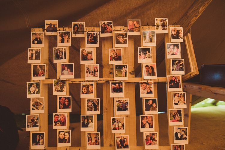 Pallet Polaroid Picture Wedding Decor | PapaKåta Tipi at Angrove Park North Yorkshire | Matt Penberthy Photography