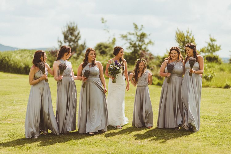 Bridesmaid in Grey Multiway Dresses | PapaKåta Tipi at Angrove Park North Yorkshire | Matt Penberthy Photography