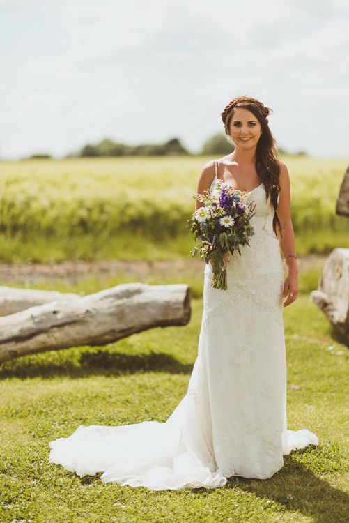 Bride in Lace Pronovias Gown | PapaKåta Tipi at Angrove Park North Yorkshire | Matt Penberthy Photography
