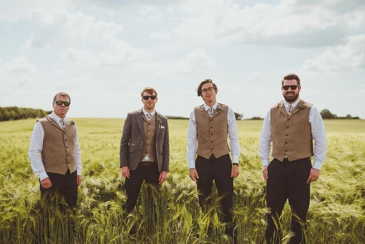 Groomsmen in Tweed | PapaKåta Tipi at Angrove Park North Yorkshire | Matt Penberthy Photography