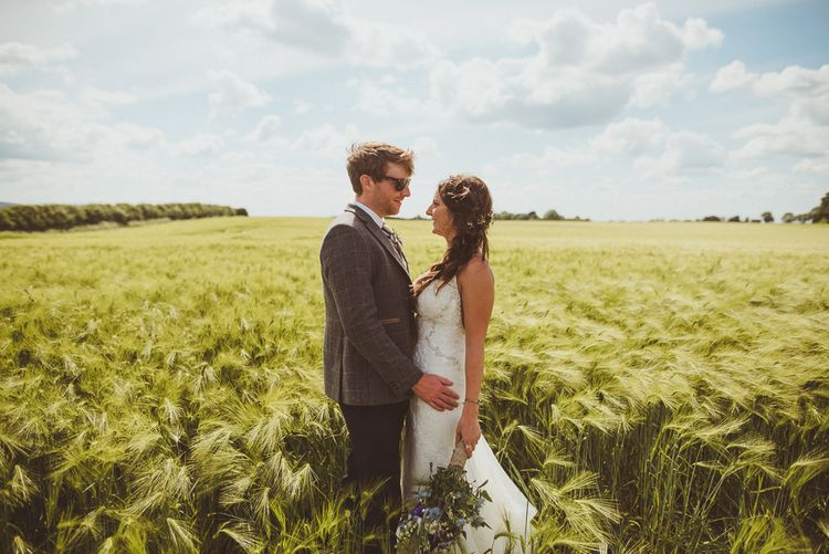 Bride in Pronovias & Groom | PapaKåta Tipi at Angrove Park North Yorkshire | Matt Penberthy Photography
