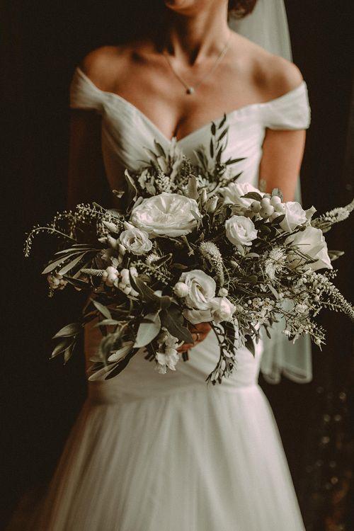 White Flower & Foliage Bouquet // Image By Carla Blain Photography