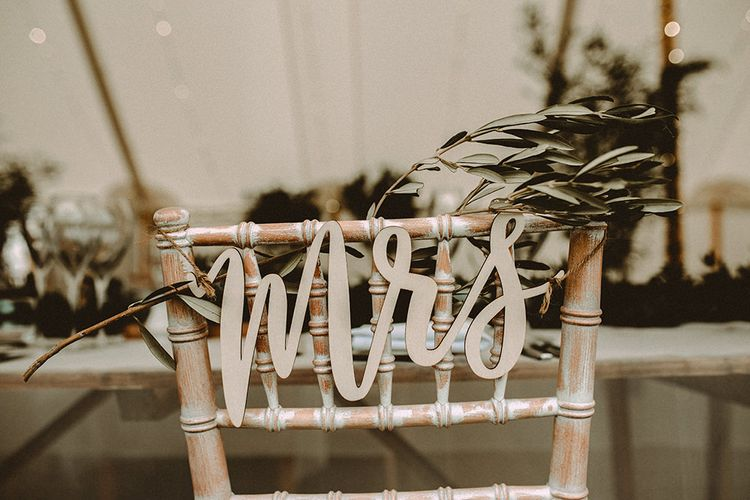 Laser Cut Mr & Mrs Signs For Chairs At Wedding // Image By Carla Blain