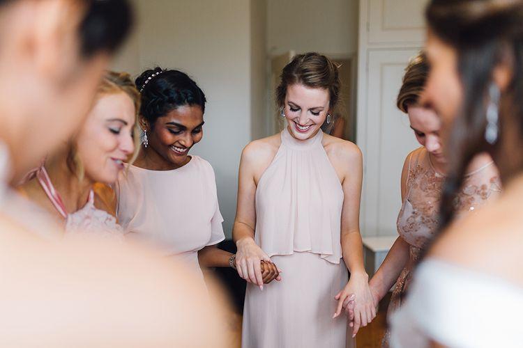 Bridesmaids in Pink High Street Dresses