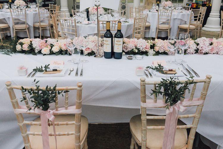 Elegant Pink Table Setting For Wedding